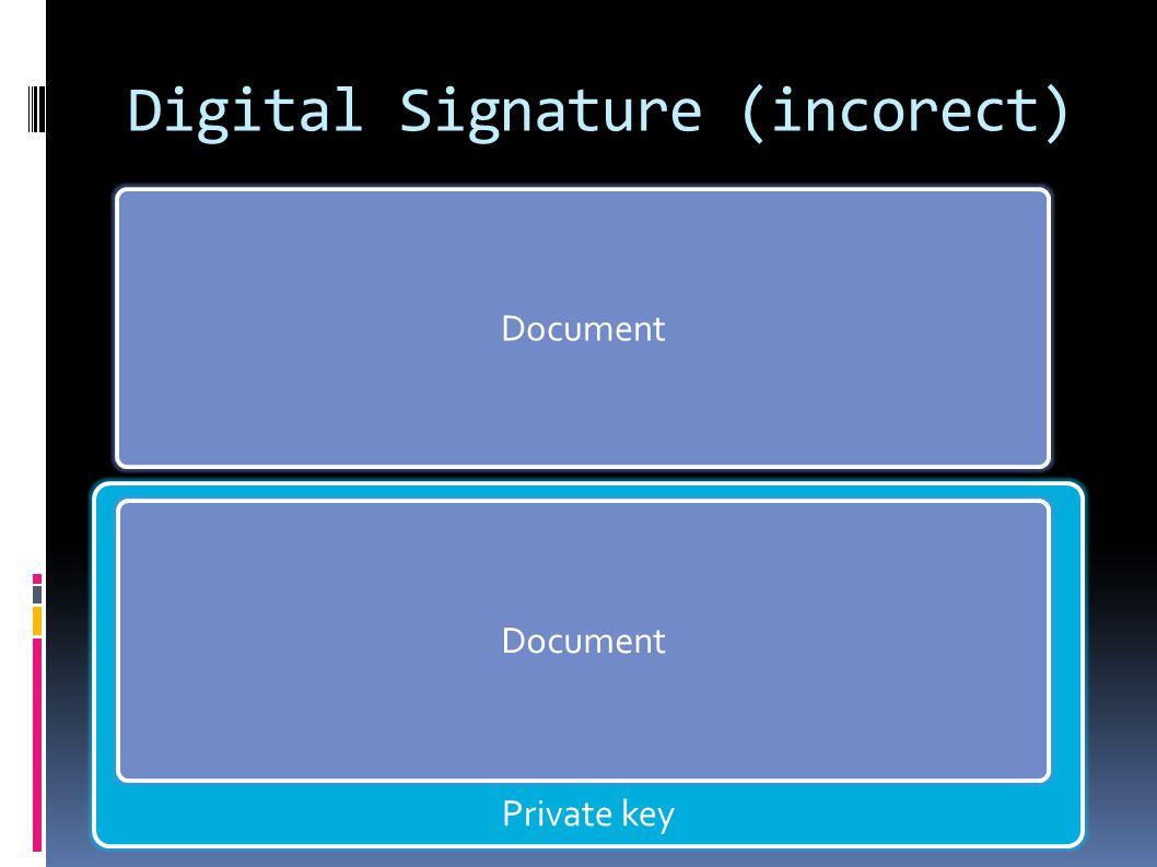 Document Private key Digital Signature (incorect) Document