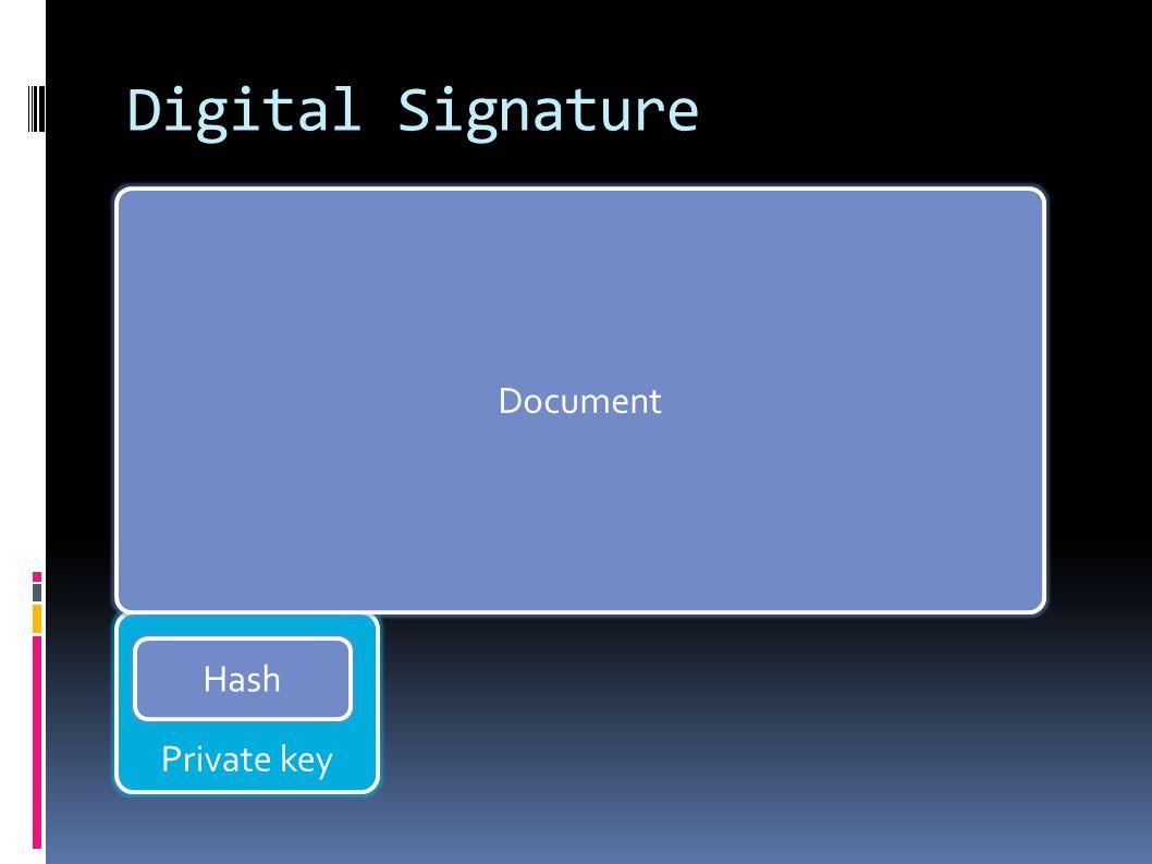 Private key Digital Signature Document Hash