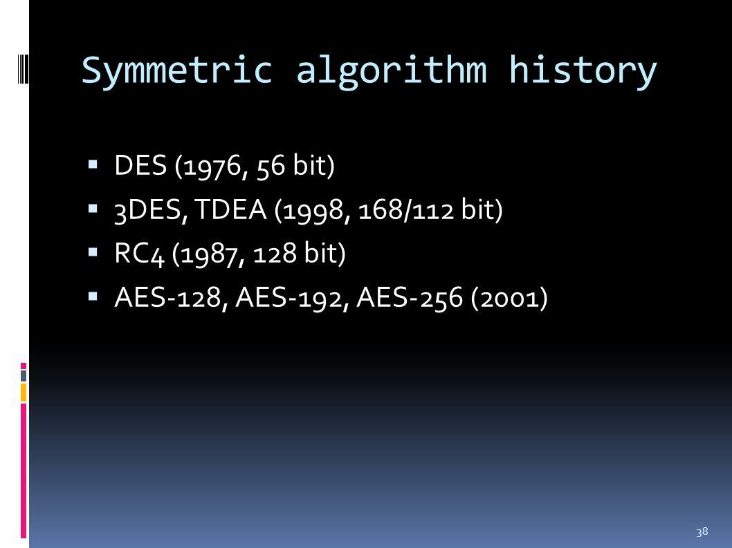 Symmetric algorithm history  DES (1976, 56 bit)  3DES, TDEA (1998, 168/112 bit)  RC4 (1987, 128 bit)  AES-128, AES-192, AES-256 (2001) 38
