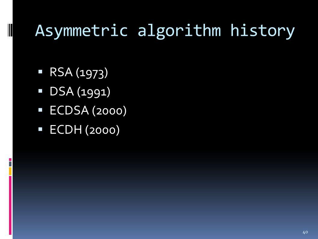 Asymmetric algorithm history  RSA (1973)  DSA (1991)  ECDSA (2000)  ECDH (2000) 40