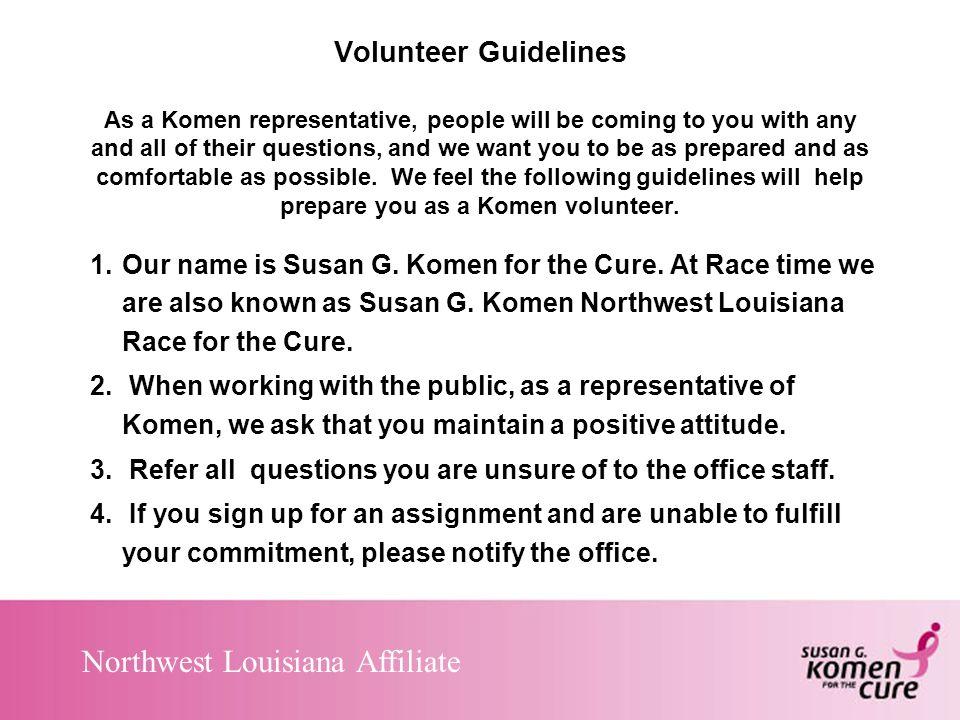 Northwest Louisiana Affiliate Volunteer Guidelines 5.