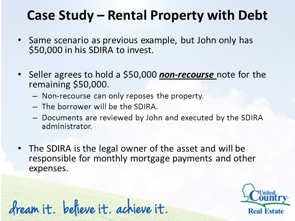 Same scenario as previous example, but John only has $50,000 in his SDIRA to invest.