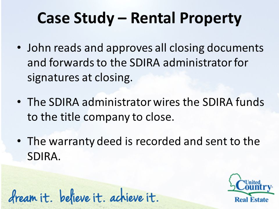 John reads and approves all closing documents and forwards to the SDIRA administrator for signatures at closing.