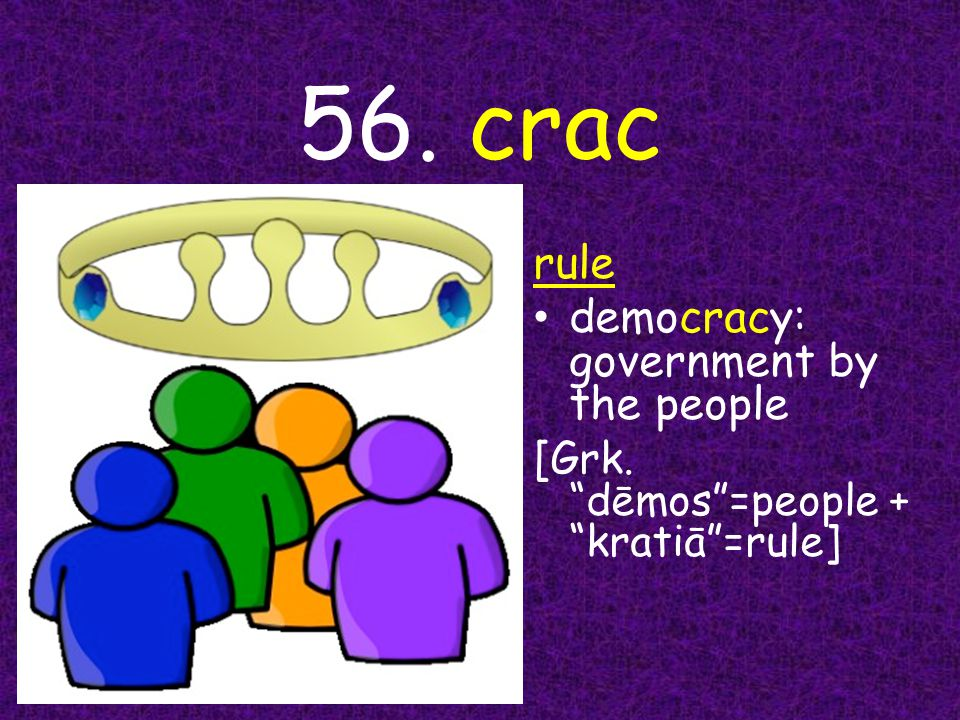 56. crac rule democracy: government by the people [ Grk. dēmos =people + kratiā =rule]