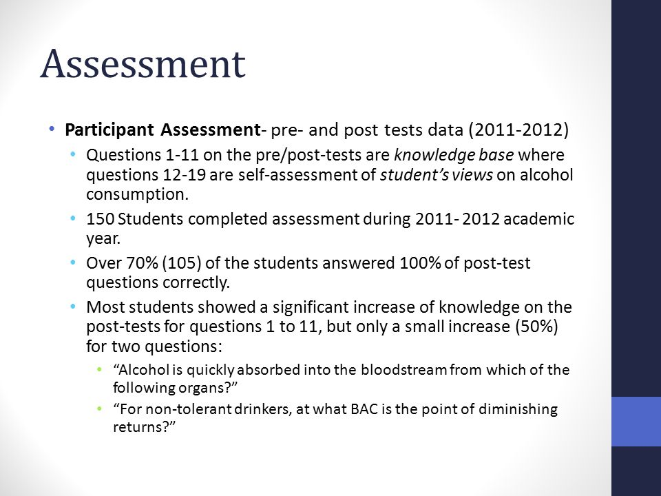 Assessment Participant Assessment- pre- and post tests data (2011-2012) Questions 1-11 on the pre/post-tests are knowledge base where questions 12-19