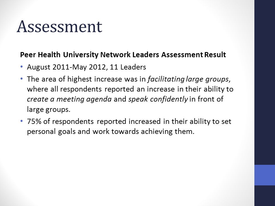 Assessment Peer Health University Network Leaders Assessment Result August 2011-May 2012, 11 Leaders The area of highest increase was in facilitating