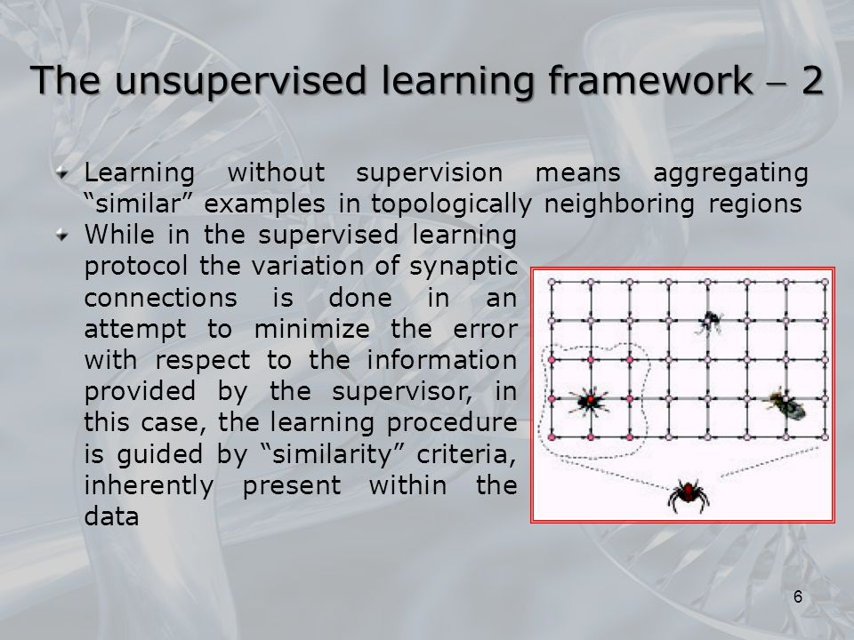 Learning without supervision means aggregating similar examples in topologically neighboring regions 6 While in the supervised learning protocol the variation of synaptic connections is done in an attempt to minimize the error with respect to the information provided by the supervisor, in this case, the learning procedure is guided by similarity criteria, inherently present within the data The unsupervised learning framework  2