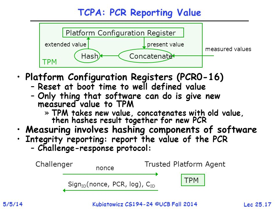 Lec 25.17 5/5/14Kubiatowicz CS194-24 ©UCB Fall 2014 TCPA: PCR Reporting Value Platform Configuration Registers (PCR0-16) –Reset at boot time to well defined value –Only thing that software can do is give new measured value to TPM »TPM takes new value, concatenates with old value, then hashes result together for new PCR Measuring involves hashing components of software Integrity reporting: report the value of the PCR –Challenge-response protocol: Platform Configuration Register HashConcatenate extended valuepresent value measured values TPM ChallengerTrusted Platform Agent nonce Sign ID (nonce, PCR, log), C ID TPM