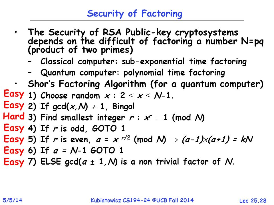 Lec 25.28 5/5/14Kubiatowicz CS194-24 ©UCB Fall 2014 The Security of RSA Public-key cryptosystems depends on the difficult of factoring a number N=pq (product of two primes) –Classical computer: sub-exponential time factoring –Quantum computer: polynomial time factoring Shor's Factoring Algorithm (for a quantum computer) 1)Choose random x : 2  x  N-1.