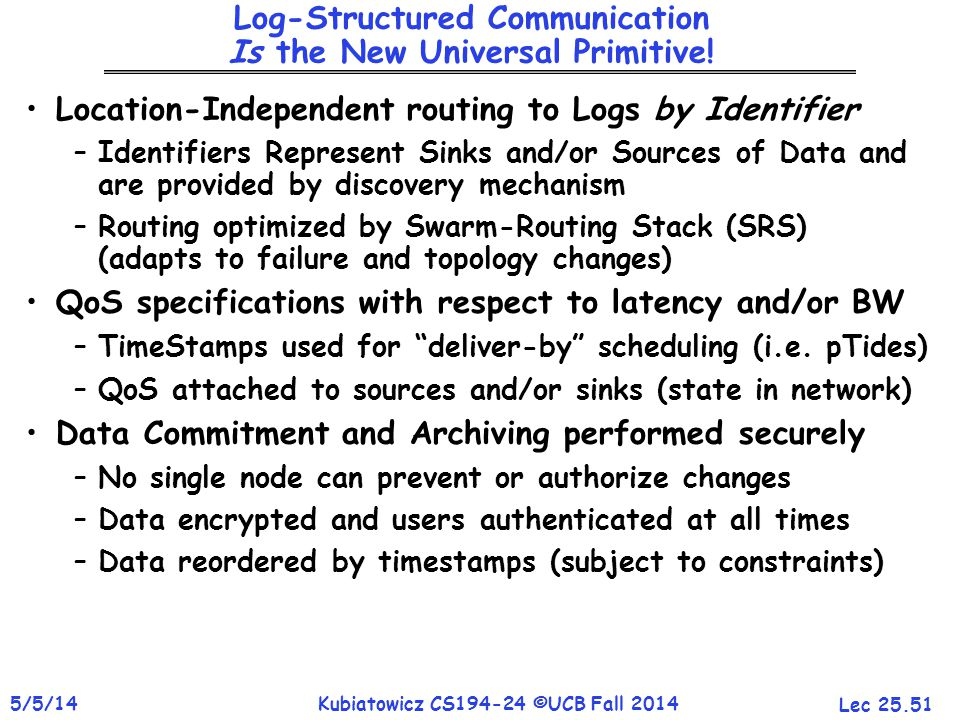 Lec 25.51 5/5/14Kubiatowicz CS194-24 ©UCB Fall 2014 Log-Structured Communication Is the New Universal Primitive.