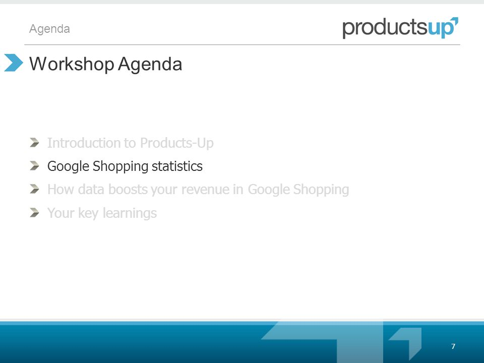 Agenda Introduction to Products-Up Google Shopping statistics How data boosts your revenue in Google Shopping Your key learnings Workshop Agenda 7