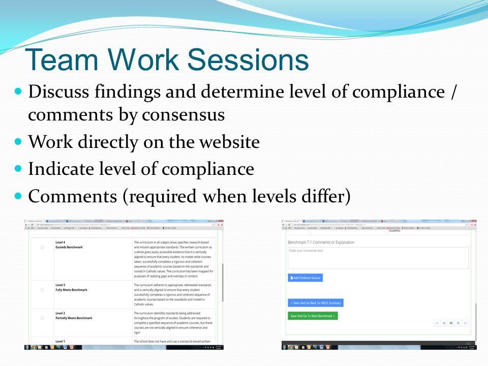 Team Work Sessions Discuss findings and determine level of compliance / comments by consensus Work directly on the website Indicate level of compliance Comments (required when levels differ)