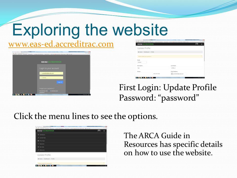 Current Year Profiles – edit school; add assistants General School Materials – optional upload area ARCA