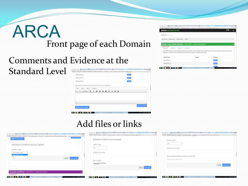 Front page of each Domain Comments and Evidence at the Standard Level Add files or links