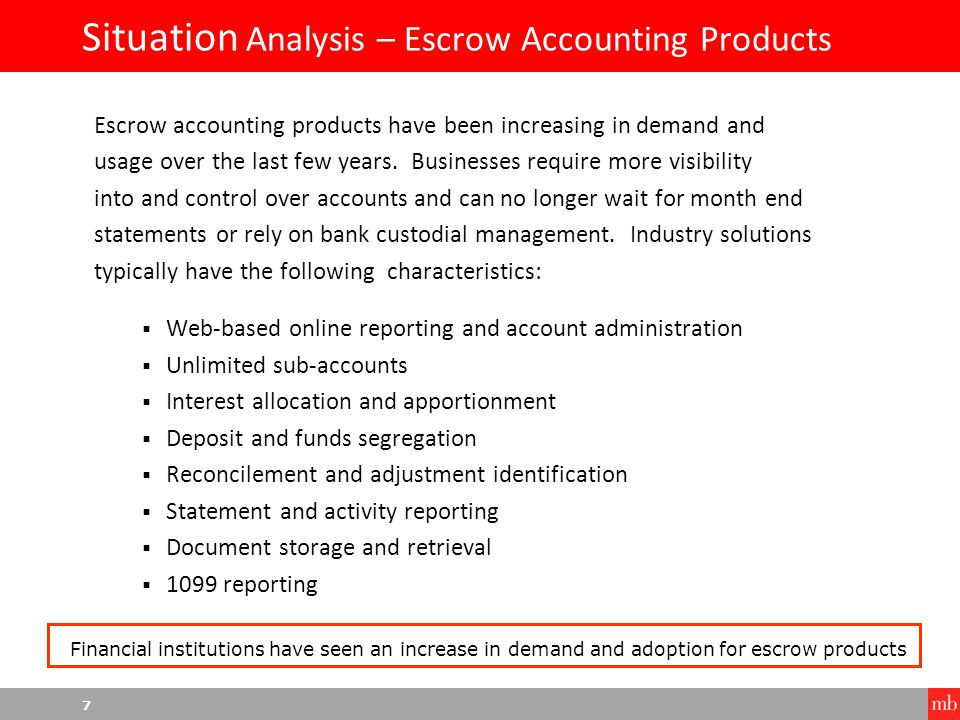 8 Situation Analysis – Escrow Accounting Products Financial institutions are now developing escrow accounting products and services to meet the increasing demands of businesses.