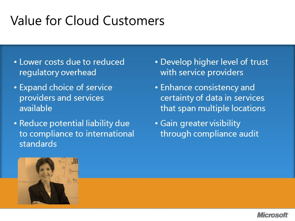 Value for Cloud Customers Lower costs due to reduced regulatory overhead Expand choice of service providers and services available Reduce potential li