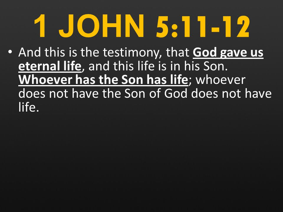1 JOHN 5:11-12 And this is the testimony, that God gave us eternal life, and this life is in his Son.