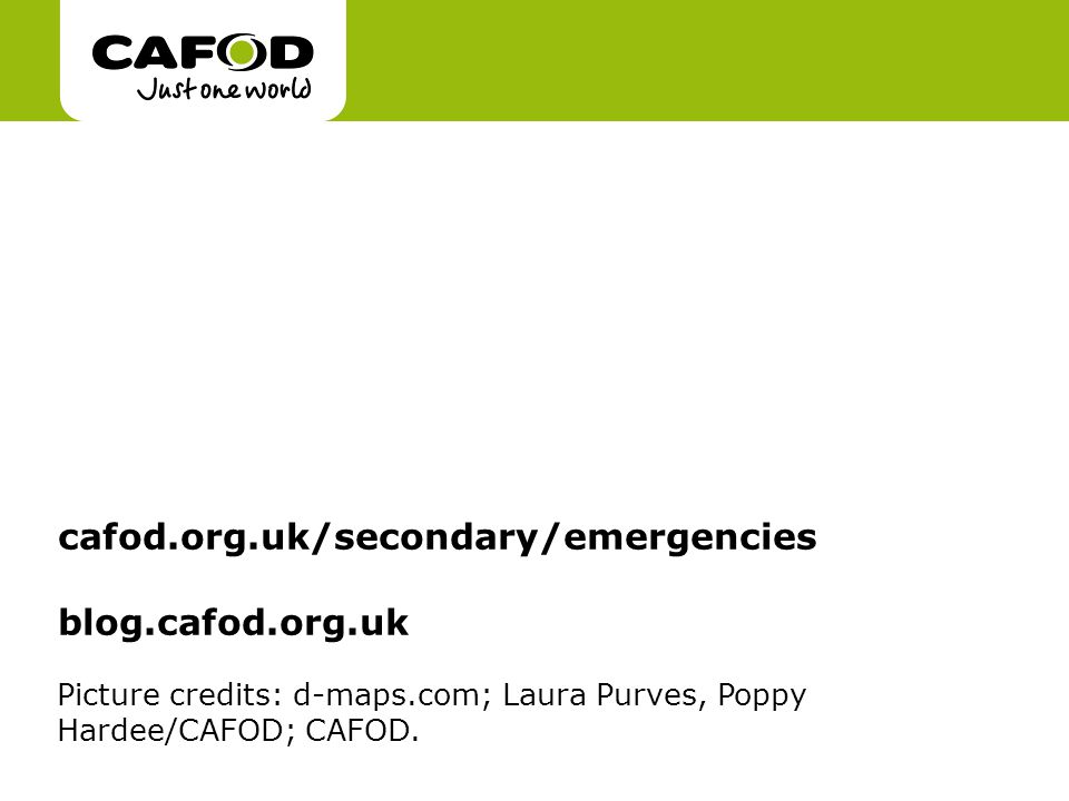Picture credits: d-maps.com; Laura Purves, Poppy Hardee/CAFOD; CAFOD.