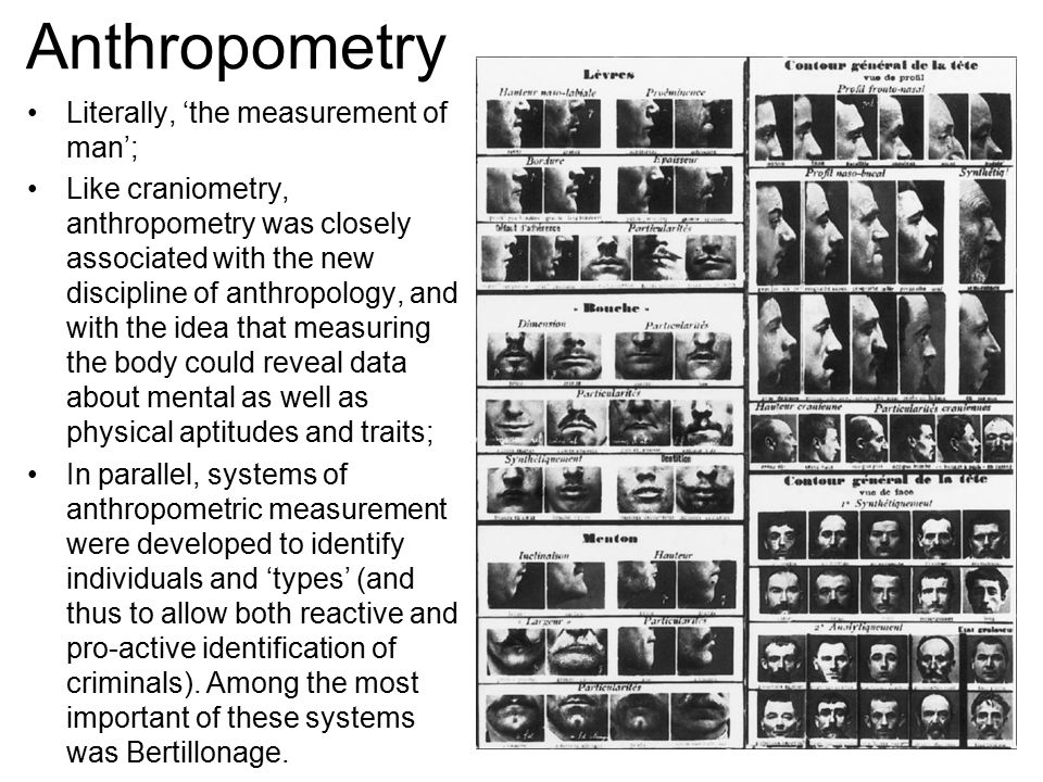Anthropometry Literally, 'the measurement of man'; Like craniometry, anthropometry was closely associated with the new discipline of anthropology, and with the idea that measuring the body could reveal data about mental as well as physical aptitudes and traits; In parallel, systems of anthropometric measurement were developed to identify individuals and 'types' (and thus to allow both reactive and pro-active identification of criminals).