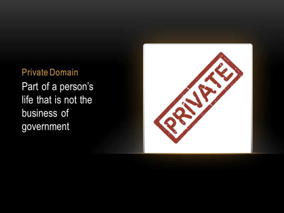 Private Domain Part of a person's life that is not the business of government
