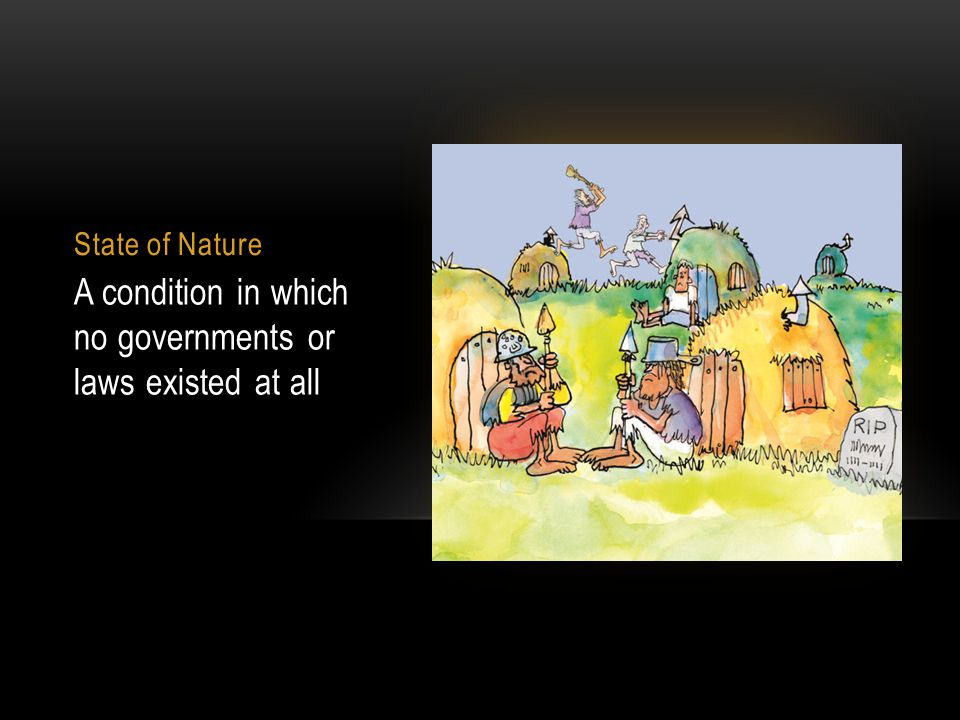 State of Nature A condition in which no governments or laws existed at all