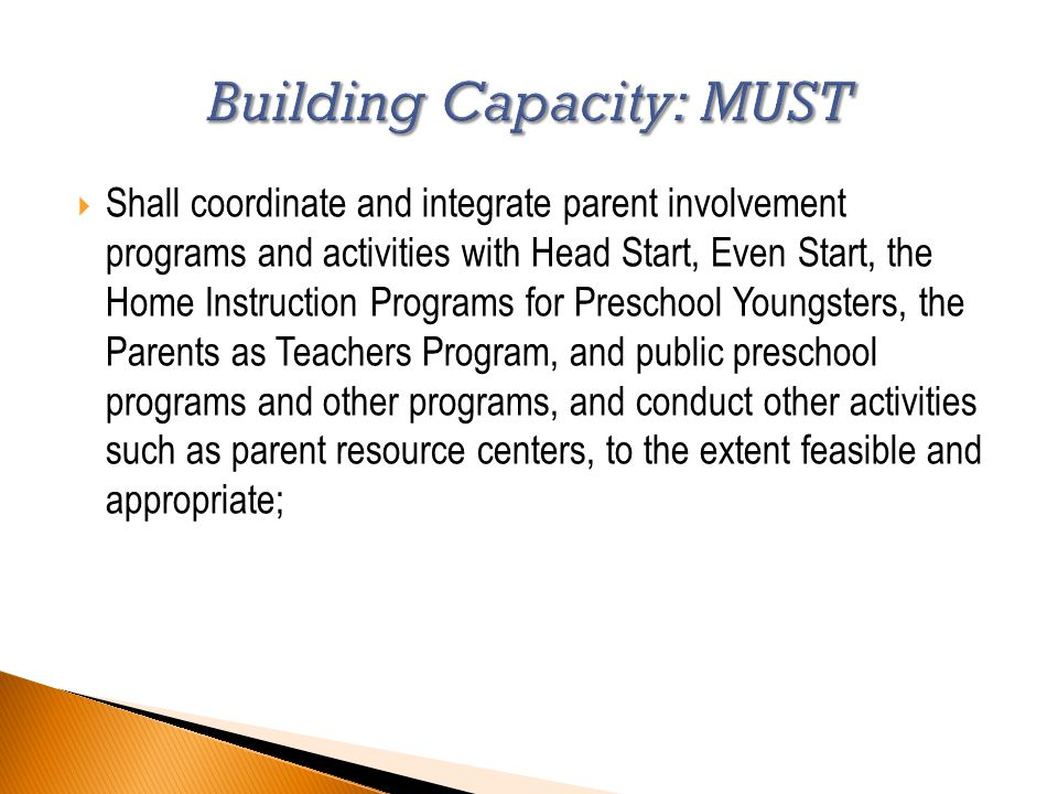  Shall coordinate and integrate parent involvement programs and activities with Head Start, Even Start, the Home Instruction Programs for Preschool Youngsters, the Parents as Teachers Program, and public preschool programs and other programs, and conduct other activities such as parent resource centers, to the extent feasible and appropriate;