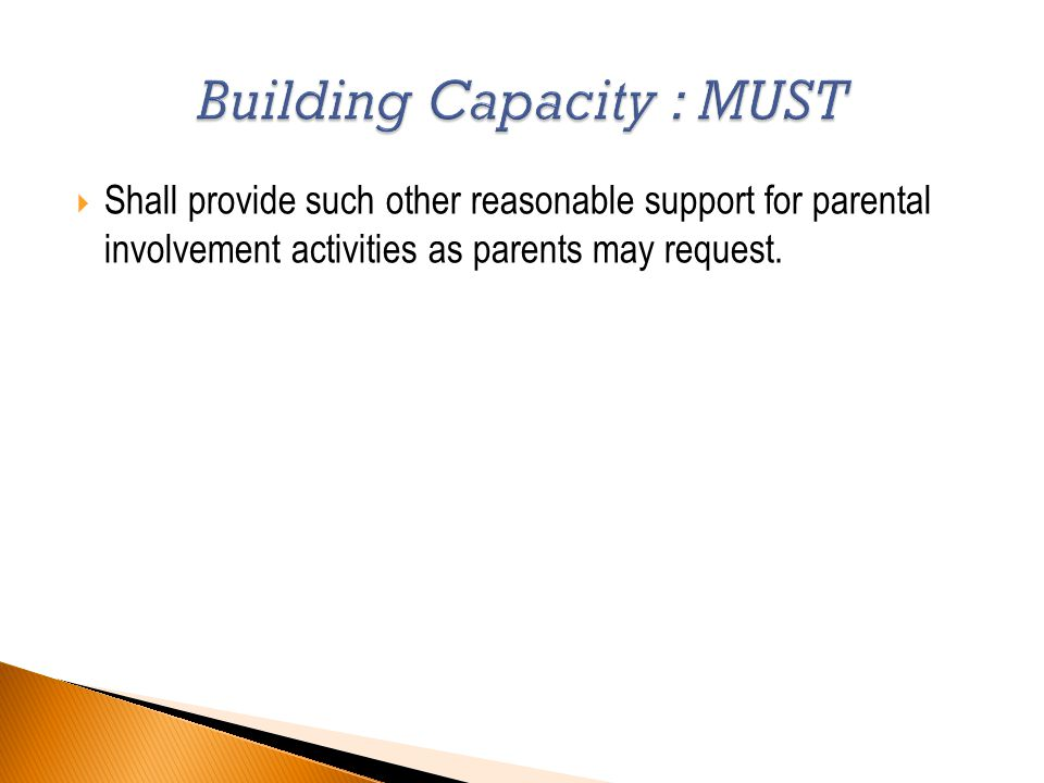  Shall provide such other reasonable support for parental involvement activities as parents may request.