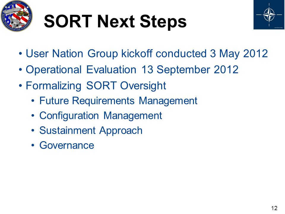 User Nation Group kickoff conducted 3 May 2012 Operational Evaluation 13 September 2012 Formalizing SORT Oversight Future Requirements Management Conf