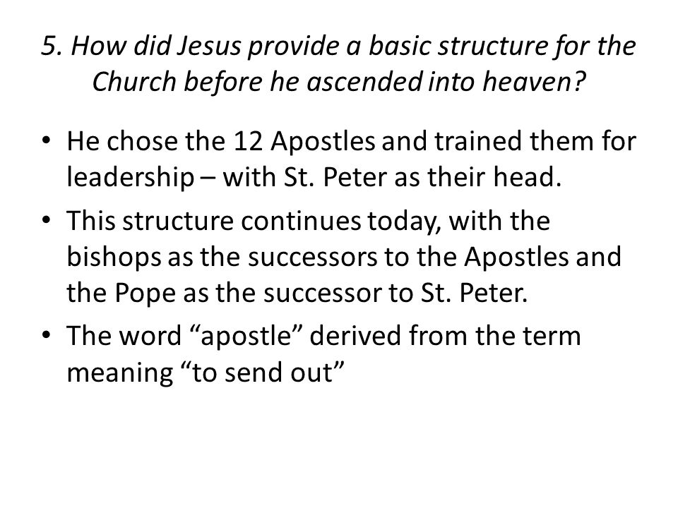 5. How did Jesus provide a basic structure for the Church before he ascended into heaven.