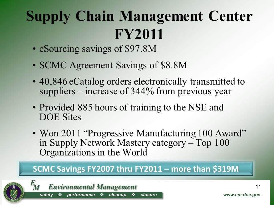 Supply Chain Management Center FY2011 eSourcing savings of $97.8M SCMC Agreement Savings of $8.8M 40,846 eCatalog orders electronically transmitted to suppliers – increase of 344% from previous year Provided 885 hours of training to the NSE and DOE Sites Won 2011 Progressive Manufacturing 100 Award in Supply Network Mastery category – Top 100 Organizations in the World SCMC Savings FY2007 thru FY2011 – more than $319M 11