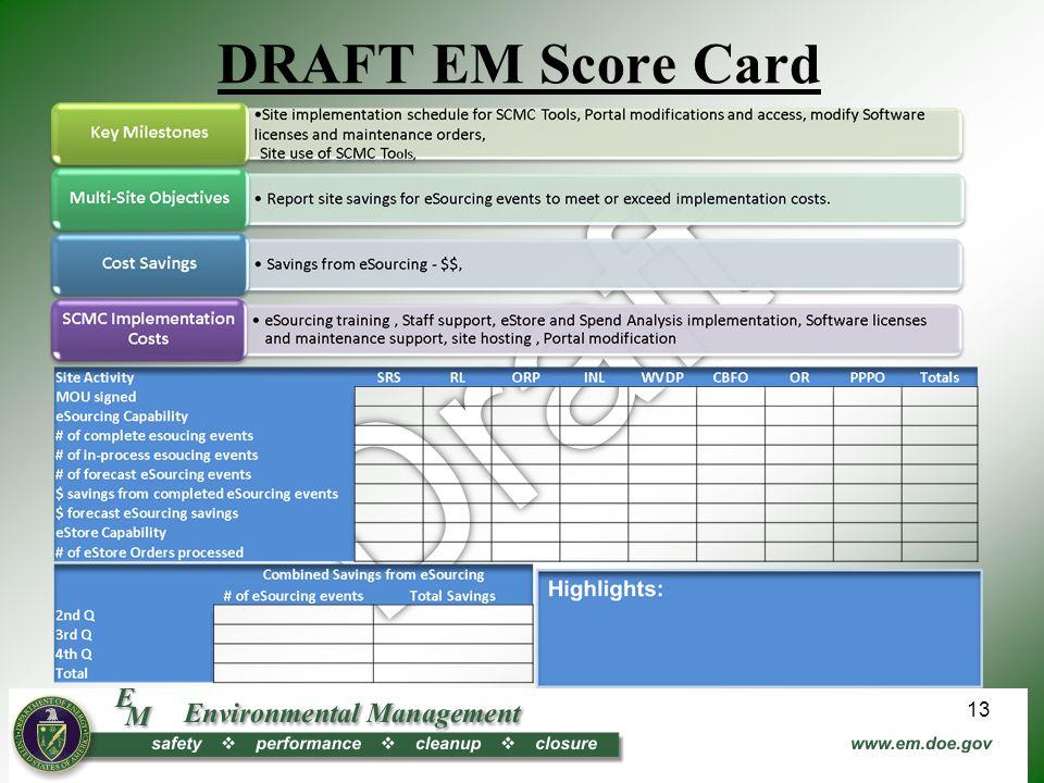 DRAFT EM Score Card 13