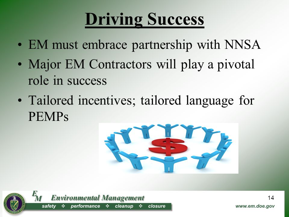 Driving Success EM must embrace partnership with NNSA Major EM Contractors will play a pivotal role in success Tailored incentives; tailored language for PEMPs 14