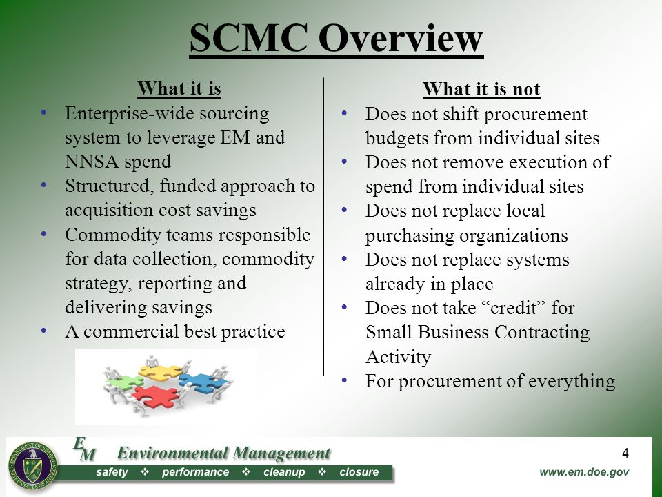What it is Enterprise-wide sourcing system to leverage EM and NNSA spend Structured, funded approach to acquisition cost savings Commodity teams responsible for data collection, commodity strategy, reporting and delivering savings A commercial best practice What it is not Does not shift procurement budgets from individual sites Does not remove execution of spend from individual sites Does not replace local purchasing organizations Does not replace systems already in place Does not take credit for Small Business Contracting Activity For procurement of everything SCMC Overview 4