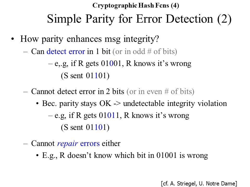 How parity enhances msg integrity.