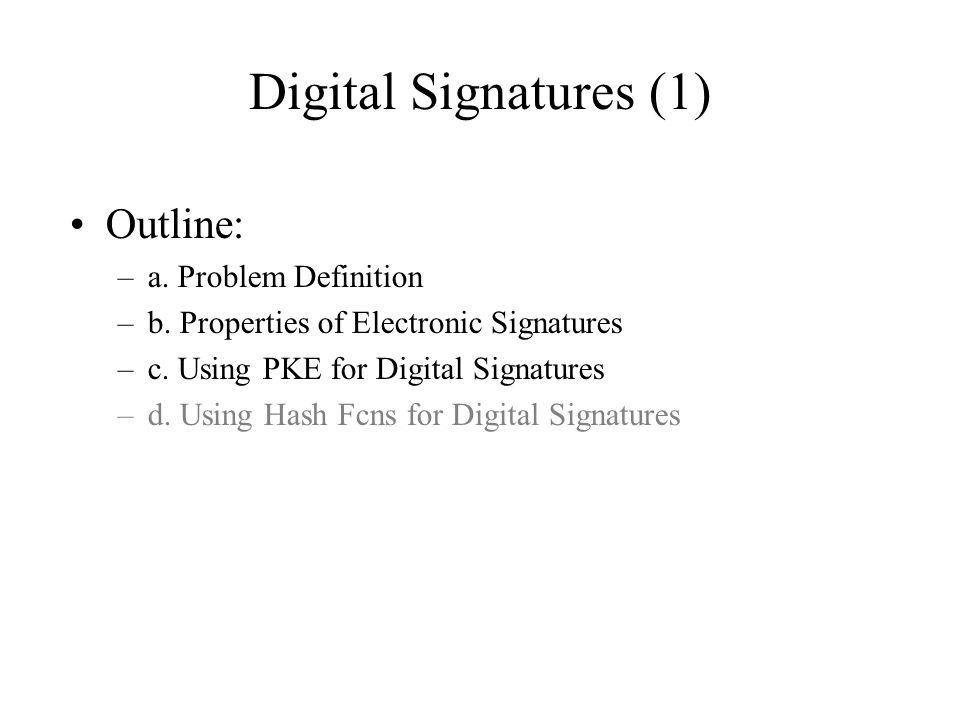 Digital Signatures (1) Outline: –a. Problem Definition –b.