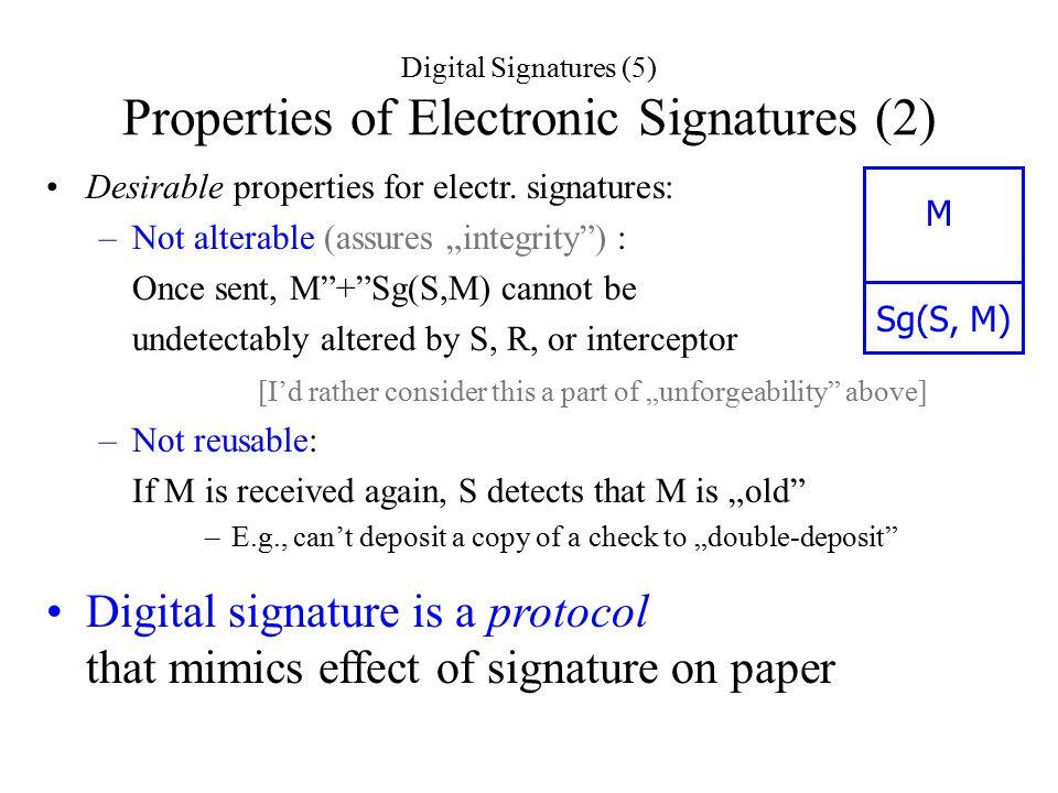 Digital Signatures (5) Properties of Electronic Signatures (2) Desirable properties for electr.