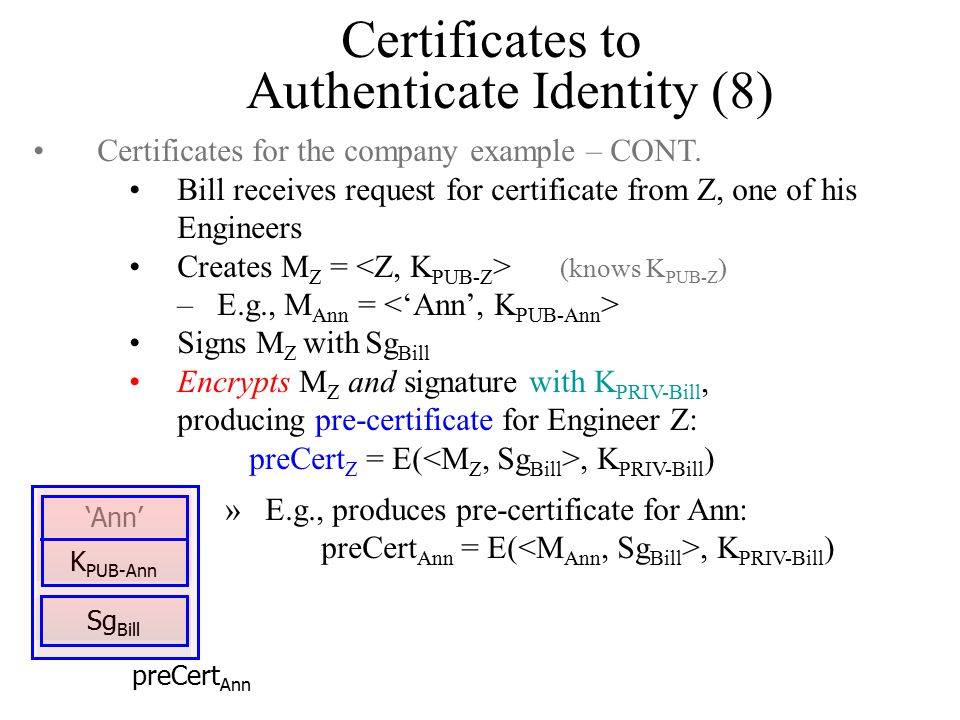 Certificates to Authenticate Identity (8) Certificates for the company example – CONT.