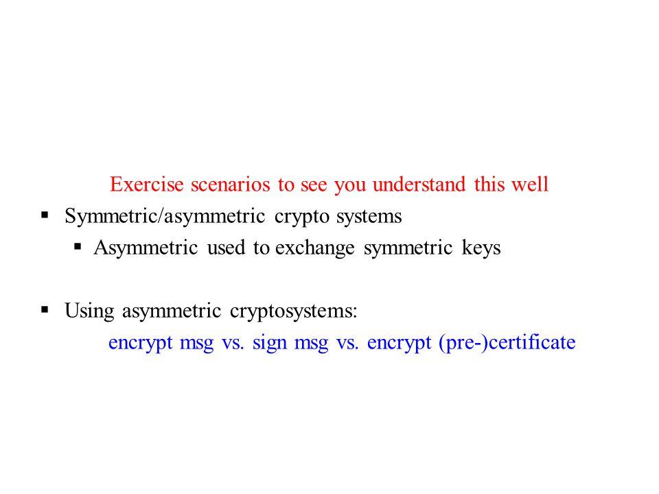 Exercise scenarios to see you understand this well  Symmetric/asymmetric crypto systems  Asymmetric used to exchange symmetric keys  Using asymmetric cryptosystems: encrypt msg vs.