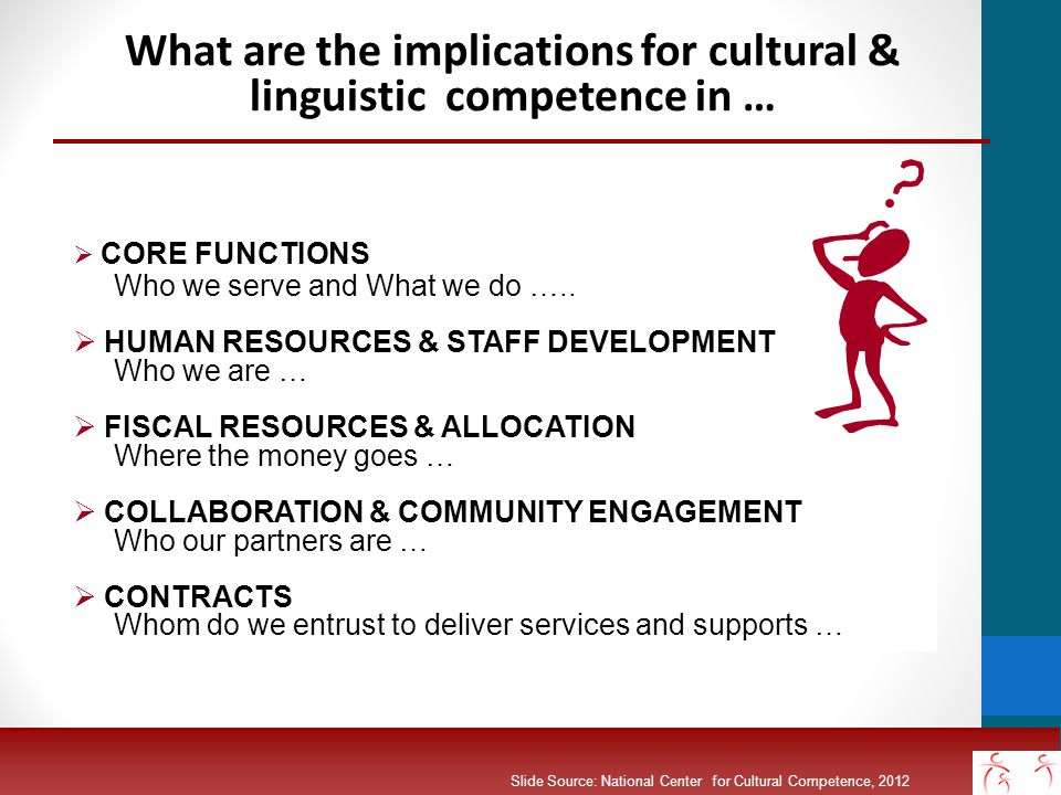 Five Elements of Cultural Competence Organizational Level value diversity conduct cultural self-assessment manage the dynamics of difference institutionalize cultural knowledge adapt to diversity - policies - structures - values - services (Cross, Bazron, Dennis and Isaacs, 1989) Slide Source:© 2012 - National Center for Cultural Competence