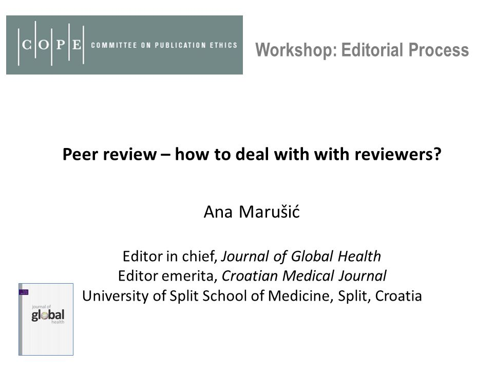 Peer review – how to deal with with reviewers.