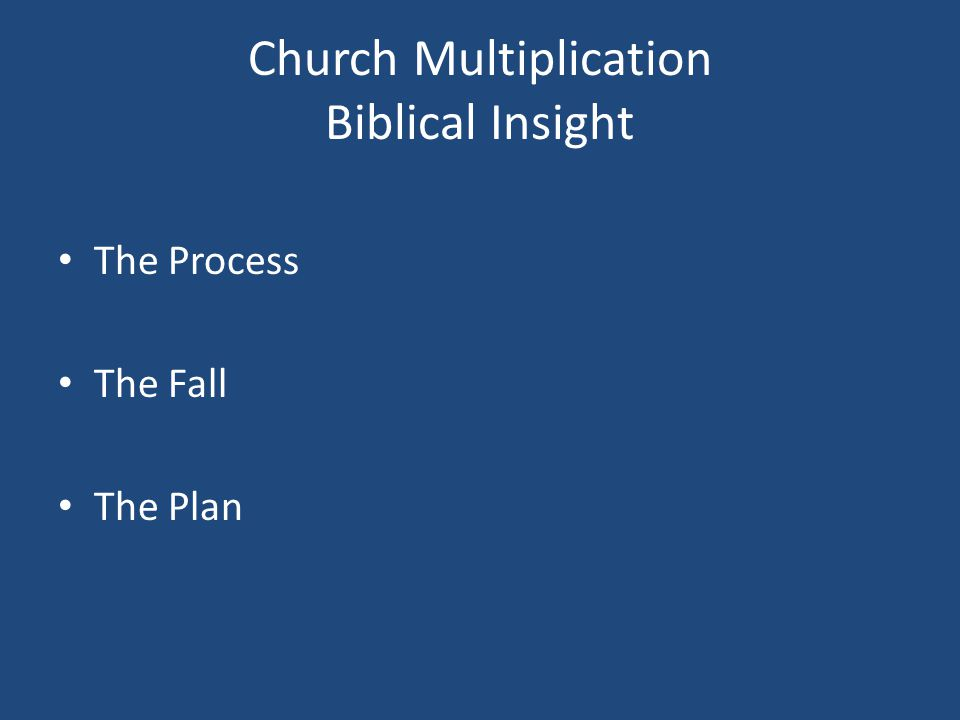 THE SPIRITUAL MULTIPLICATION PROCESS Seven Essential Ingredients Necessary to Build a Movement 1.A common goal: The Great Commission.