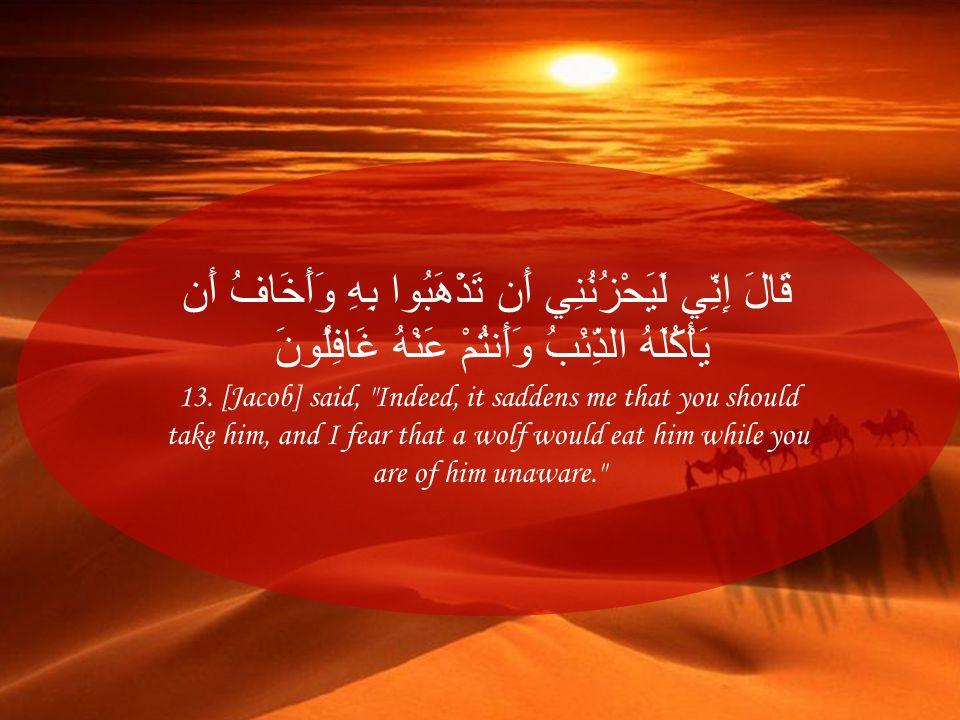 قَالَ إِنِّي لَيَحْزُنُنِي أَن تَذْهَبُوا بِهِ وَأَخَافُ أَن يَأْكُلَهُ الذِّئْبُ وَأَنتُمْ عَنْهُ غَافِلُونَ 13. [Jacob] said,