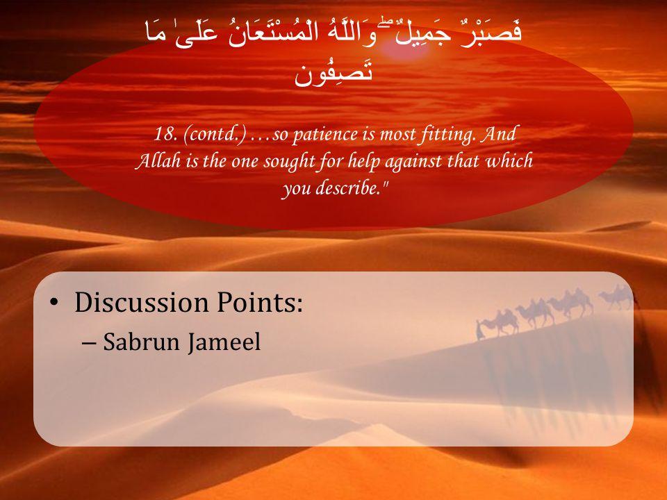 فَصَبْرٌ جَمِيلٌ ۖ وَاللَّهُ الْمُسْتَعَانُ عَلَىٰ مَا تَصِفُون 18. (contd.) …so patience is most fitting. And Allah is the one sought for help agains