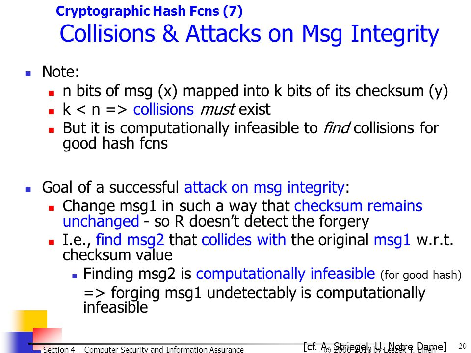20 © 2006-2010 by Leszek T. Lilien Section 4 – Computer Security and Information Assurance Cryptographic Hash Fcns (7) Collisions & Attacks on Msg Int