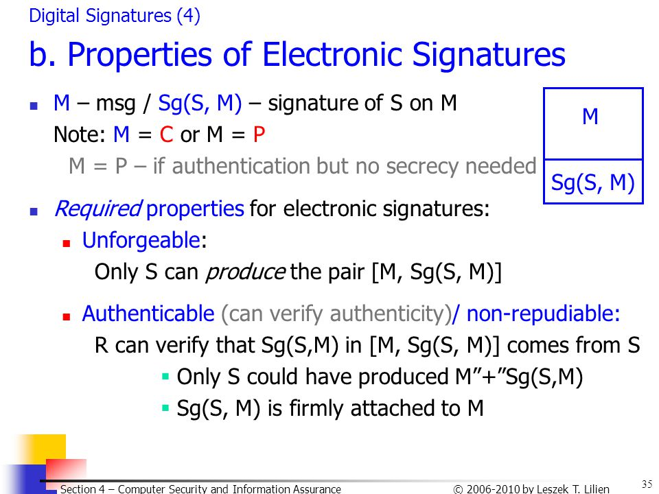 35 © 2006-2010 by Leszek T. Lilien Section 4 – Computer Security and Information Assurance Digital Signatures (4) b. Properties of Electronic Signatur