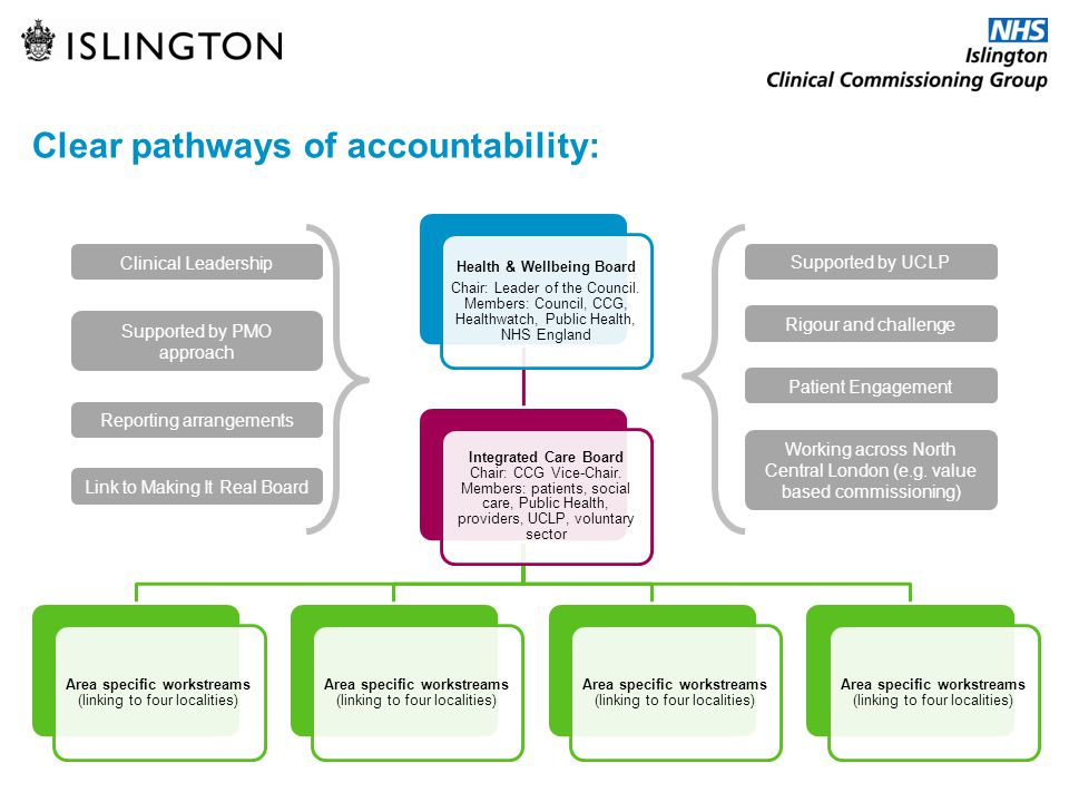 Clear pathways of accountability: Health & Wellbeing Board Chair: Leader of the Council. Members: Council, CCG, Healthwatch, Public Health, NHS Englan