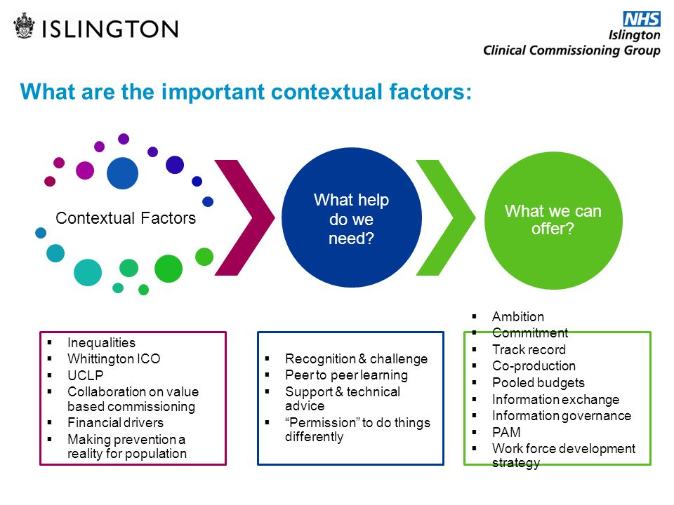What are the important contextual factors: Contextual Factors What help do we need? What we can offer?  Inequalities  Whittington ICO  UCLP  Colla
