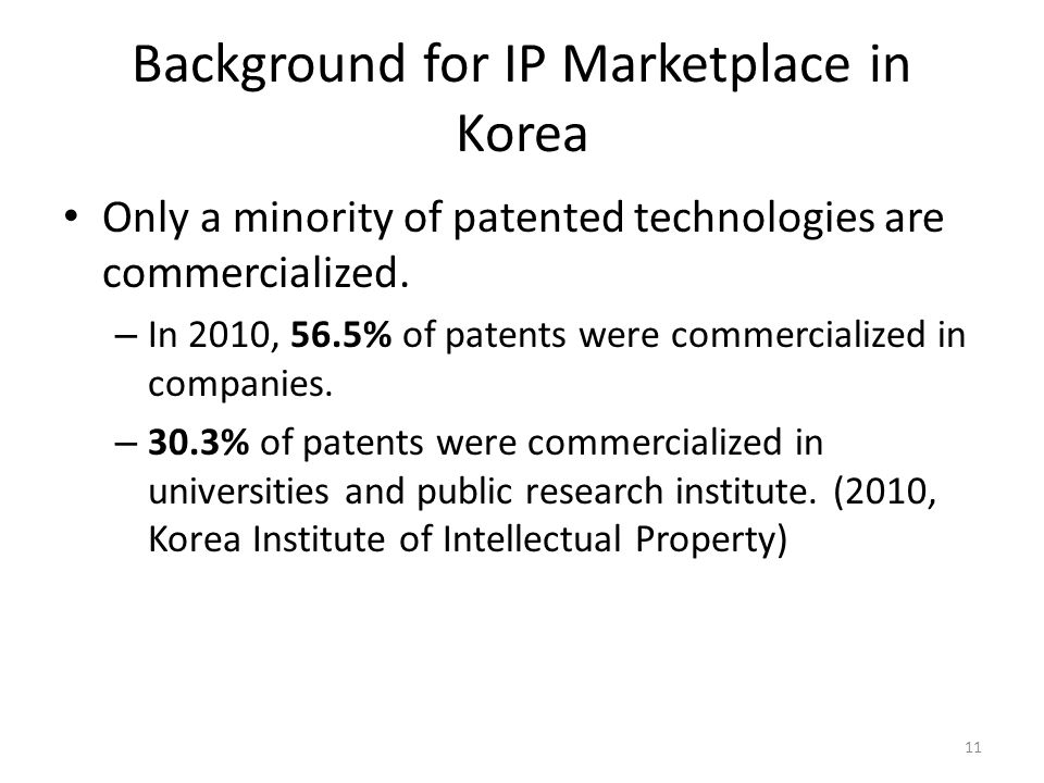 Background for IP Marketplace in Korea 11 Only a minority of patented technologies are commercialized.