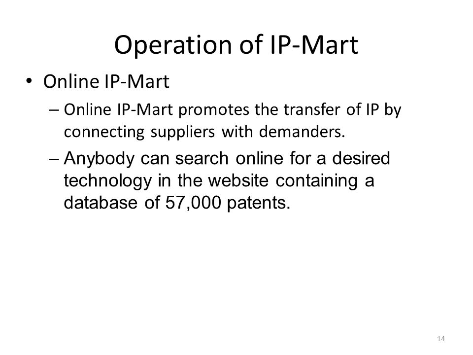 Operation of IP-Mart Online IP-Mart – Online IP-Mart promotes the transfer of IP by connecting suppliers with demanders. –Anybody can search online fo