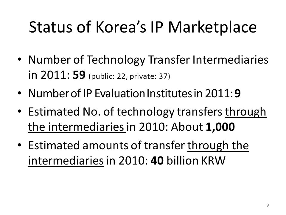 Status of Korea's IP Marketplace Number of Technology Transfer Intermediaries in 2011: 59 (public: 22, private: 37) Number of IP Evaluation Institutes in 2011: 9 Estimated No.